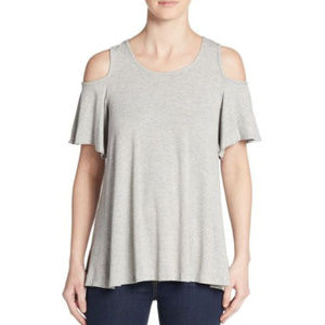 BOBEAU NWOT COLD OPEN SHOULDER GREY GRAY TOP SMALL